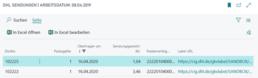Screenshot BC/NAV ERP Schnittstelle DHL Versand- Sendungsübersicht