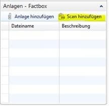 Screenshot BC/NAV ERP Modul Scan to Dynamics NAV