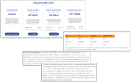 Collage fehlerhafter DocuWare Preise im Internet