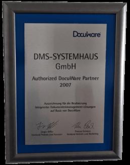 Auszeichnung DMS-SYSTEMHAUS GmbH als DocuWare Partner im Jahr 2007