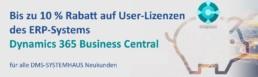 Bis zu 10 % Rabatt auf User-Lizenzen des ERP-Systems Dynamics 365 Business Central